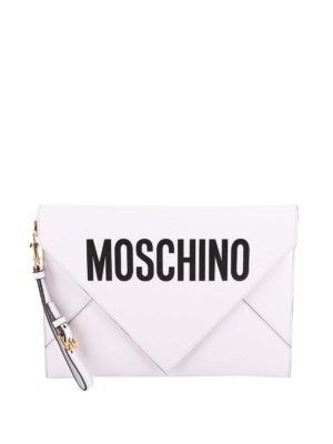 Moschino: clutches - Leather envelope clutch