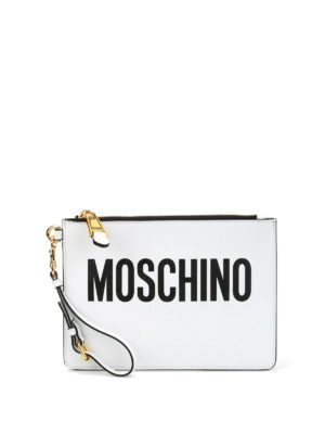 Moschino: clutches - Leather logo minimal pouch