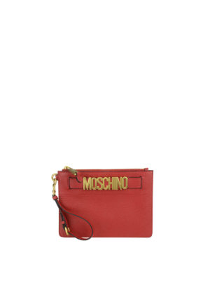 Moschino: clutches - Logo detailed deerskin clutch