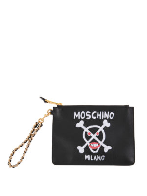 Moschino: clutches - Logo printed leather clutch