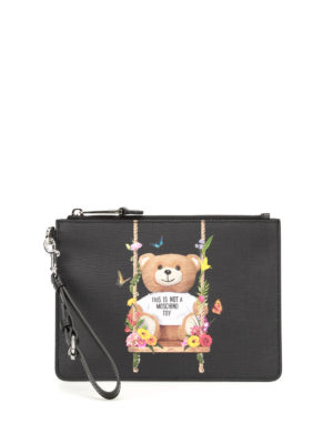 Moschino: clutches - Not A Moschino Toy black pouch