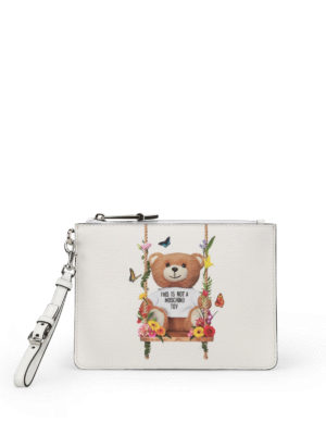 Moschino: clutches - Not A Moschino Toy white pouch