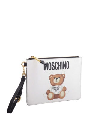 Moschino: clutches online - Bear and logo print clutch
