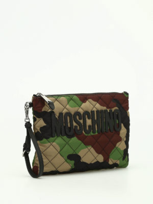 Moschino: clutches online - Camu quilted nylon clutch