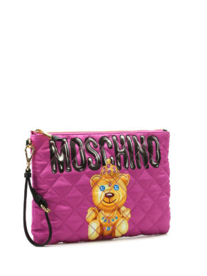 Moschino: clutches online - Jewel bear quilted satin clutch