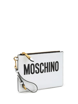 Moschino: clutches online - Leather logo minimal pouch