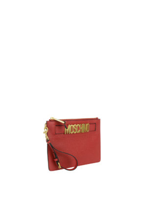 Moschino: clutches online - Logo detailed deerskin clutch