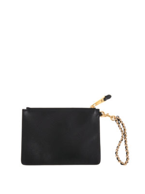Moschino: clutches online - Logo printed leather clutch