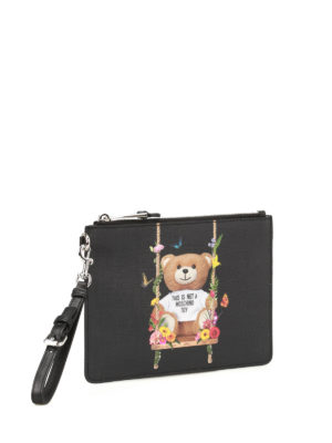 Moschino: clutches online - Not A Moschino Toy black pouch