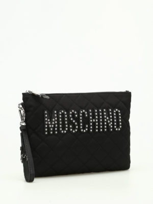 Moschino: clutches online - Quilted nylon clutch with studs