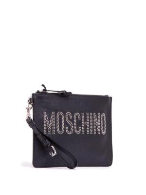 Moschino: clutches online - Rhinestone logo leather clutch