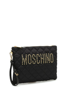 Moschino: clutches online - Stud detailed logo pouch