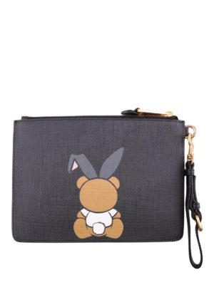 Moschino: clutches online - Teddy Playboy black clutch