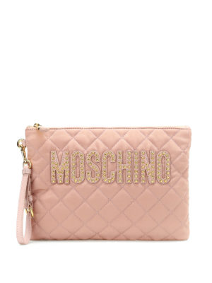 Moschino: clutches - Quilted nylon clutch with studs