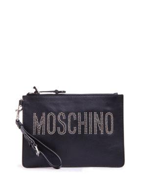 Moschino: clutches - Rhinestone logo leather clutch
