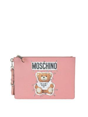 MOSCHINO: pochette - Clutch rosa con Teddy Bear e spille da balia