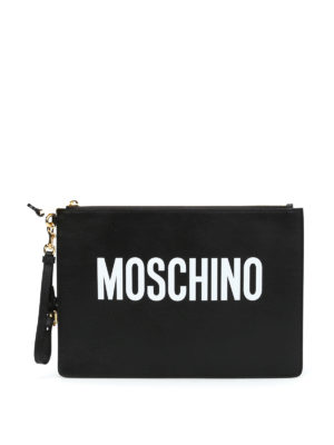 Moschino: clutches - Soft leather logo maxi pouch