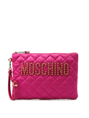 Moschino: clutches - Stud detailed logo pouch