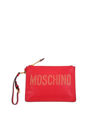 Moschino: clutches - Studded logo leather clutch
