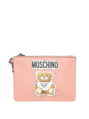 MOSCHINO: pochette - Clutch in simil pelle rosa con stampa Teddy