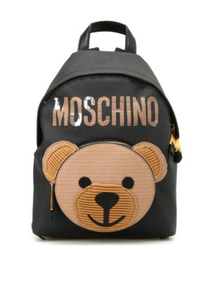 Moschino Couture: backpacks - Bear pocket black backpack