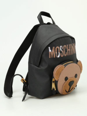 Moschino Couture: backpacks online - Bear pocket black backpack