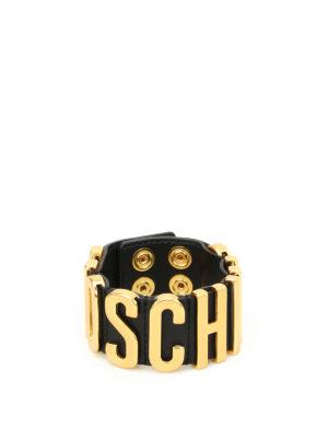 Moschino Couture: Bracelets & Bangles - Maxi logo leather bracelet