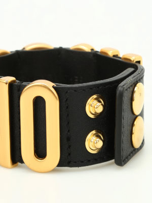 Moschino Couture: Bracelets & Bangles online - Maxi logo leather bracelet