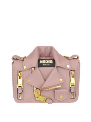 Moschino Couture: cross body bags - Leather biker jacket shaped bag