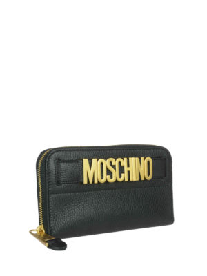 Moschino Couture: wallets & purses online - Black leather wallet with logo