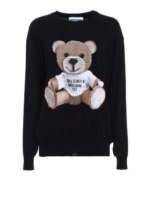Moschino: crew necks - Bear patch wool sweater
