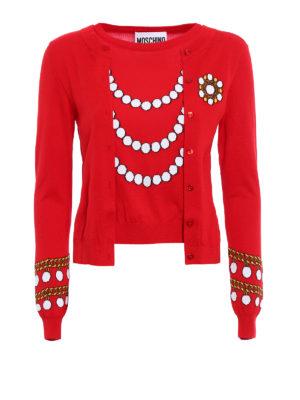 Moschino: crew necks - Inlaid faux cardigan