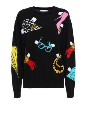 Moschino: crew necks - Multicolour intarsia over sweater