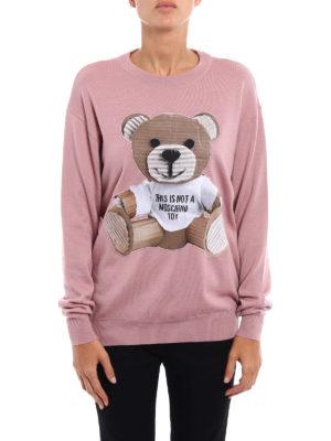 Moschino: crew necks online - Bear patch wool sweater