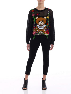 Moschino: crew necks online - See-through intarsia black sweater