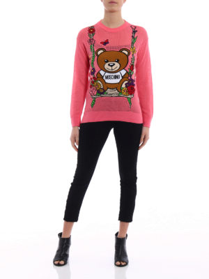 Moschino: crew necks online - See-through intarsia pink sweater