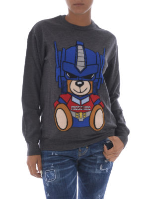Moschino: crew necks online - Transformers Bear grey wool sweater