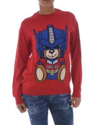 Moschino: crew necks online - Transformers Bear red wool sweater
