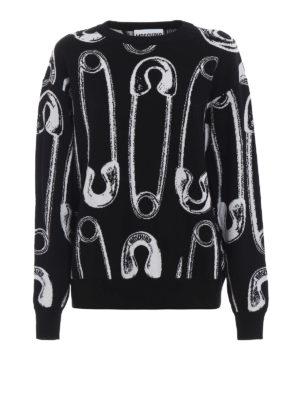 MOSCHINO: maglia collo rotondo - Pullover motivo spille