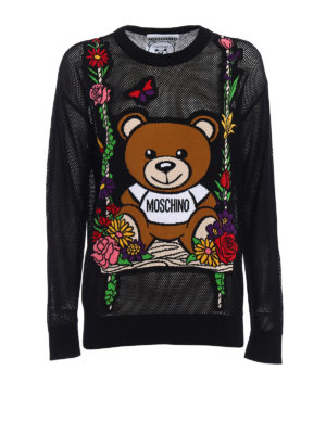 Moschino: crew necks - See-through intarsia black sweater