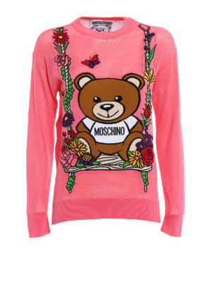 Moschino: crew necks - See-through intarsia pink sweater
