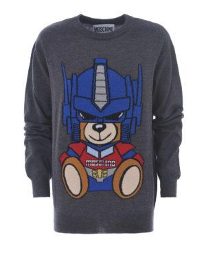 Moschino: crew necks - Transformers Bear grey wool sweater