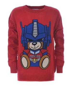 Moschino: crew necks - Transformers Bear red wool sweater