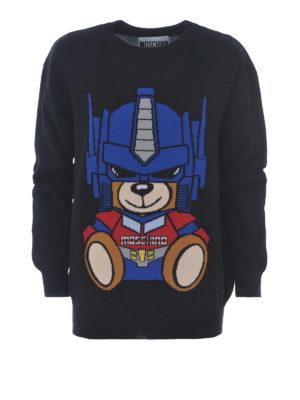Moschino: crew necks - Transformers Bear wool sweater