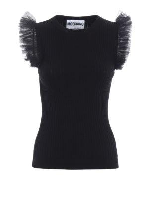 Moschino: crew necks - Tulle ruffle sleeveless sweater
