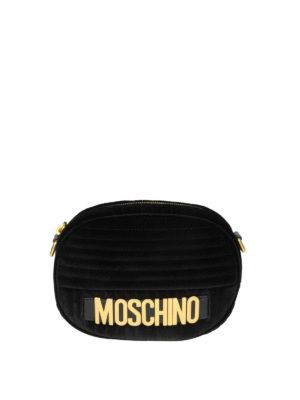MOSCHINO: borse a tracolla - Borsetta ovale signature in velluto nero