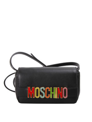 Moschino: cross body bags - Coloured logo leather crossbody