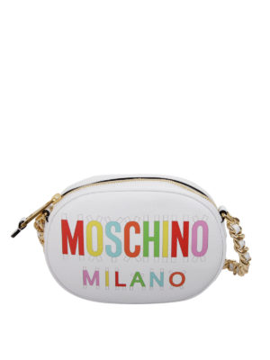 Moschino: cross body bags - Coloured logo print leather bag