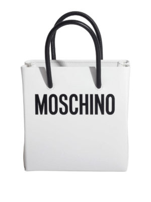 Moschino: cross body bags - Contrasting handles leather bag