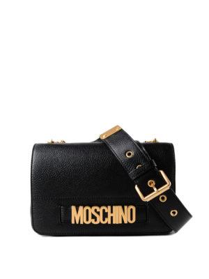 MOSCHINO: borse a tracolla - Tracolla in pelle a grana con logo dorato